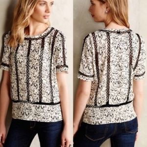 Anthropologie Meadow Rue Bird Print Crochet Blouse